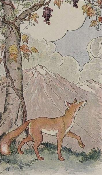Psychologie - Fabel mit Fuchs und Trauben - Berg im Hintergrund